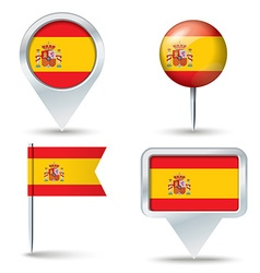 Map pins with flag of Spain vector image