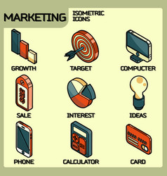 marketing color outline isometric icons vector image