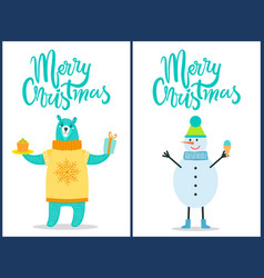 merry christmas bright posters with congratulation vector image