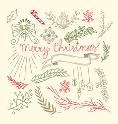Merry christmas floral hand drawn background vector
