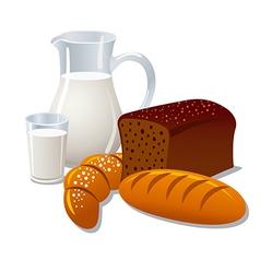 milk and bread vector image