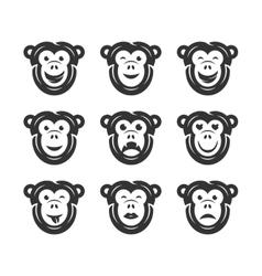 Monkey smiley icons vector