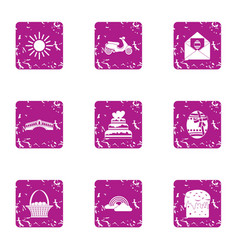 Mood for loveless icons set grunge style vector