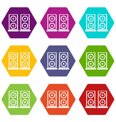 music speakers icon set color hexahedron vector image