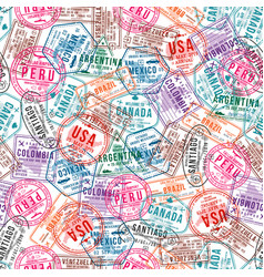 passport visa stamps seamless pattern vector image