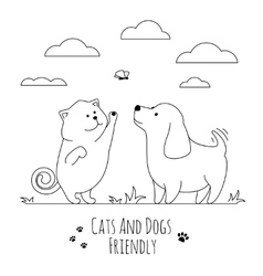 Pets friends Dog and cat playing together doodle vector