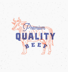 premium quality beef retro print effect card vector image