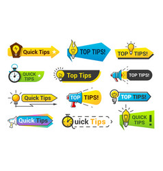 quick tips icon set information banner design vector image