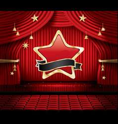 red stage curtain with star seats and copy space vector image