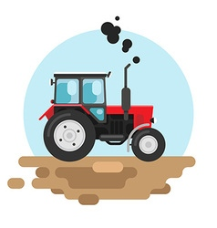 Red tractor a side view vector