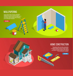 renovation isometric banners set vector image