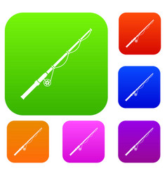 rod and reel set collection vector image