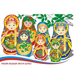 Russian nesting dolls vector