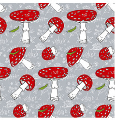 seamless cute seasonal pattern with fores vector image vector image