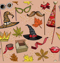 seamless pattern with autumn party accessories set vector image