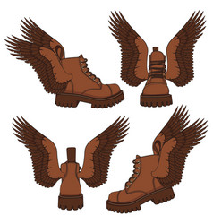 Set brown boots with wings vector