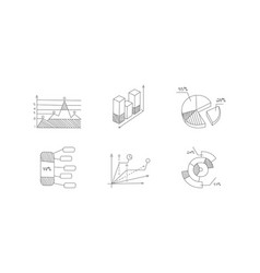 set hand drawn charts and diagrams business vector image