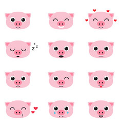 set of cute piglet emoticons vector image