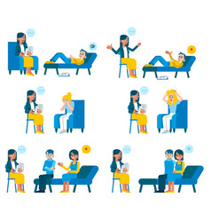 set of psychotherapists vector image