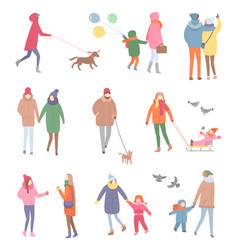 Set of walking people in winter isolated vector