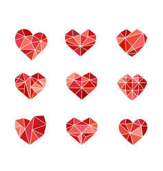 set polygonal heart symbols icons vector image