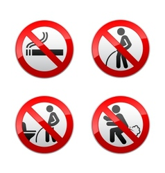 Set prohibited signs - Toilet stickers vector