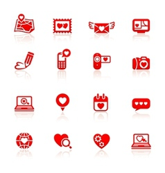 Set valentines day red icons vector image