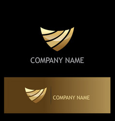 Shield abstract technology gold logo vector