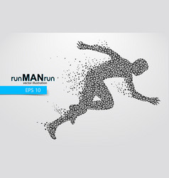 Silhouette of a running man from triangle vector