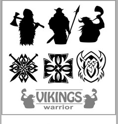 Silhouettes of the vikings set vector
