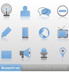 Simple blue-grey new media icon set vector image