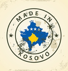 Stamp with map flag of Kosovo vector