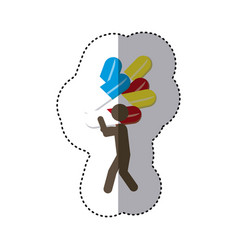 Sticker colorful worker holding up capsule drugs vector