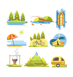 Summer activities colorful flat poster on vector