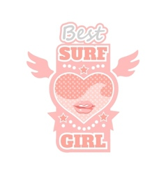 Surf girl typography t-shirt graphics vector image