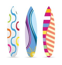 surfboard with various icon on it set vector image