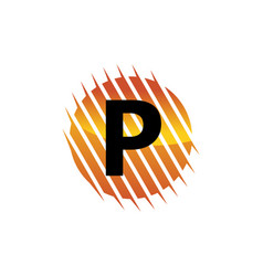 technology letter p vector image