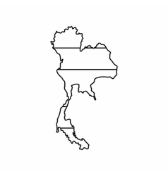 Thailand map icon outline style vector