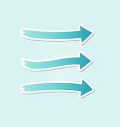 three different blue arrows vector image vector image