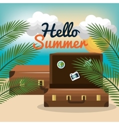 Travel suitcase beach summer vacation design vector