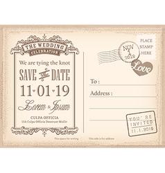 Vintage postcard save date background vector