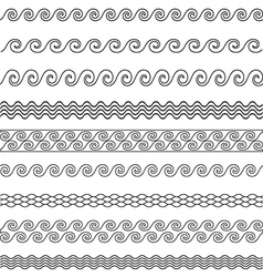 Wave line pattern borders set vector