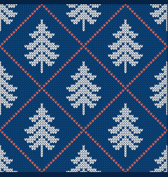 winter seamless wool texture with christmas trees vector image