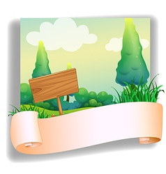 An empty template in front of a wooden signboard vector image vector image