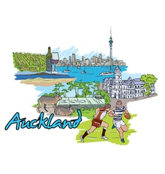 auckland doodles vector image vector image