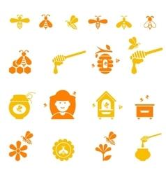 Bee and honey icon set Organic natural vector image