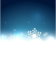 Blue snowy magic Christmas background vector image