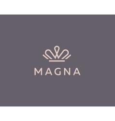 Elegant crown premium logo luxury royal king vector