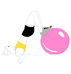 girl is doing sports exercises vector image vector image