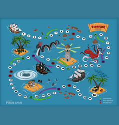 pirate board game for children map of treasure vector image